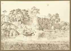 View of Raja Shitab Rai's ghat in the W. suburbs of Patna City (Bihar) taken from the river. 19 November 1824